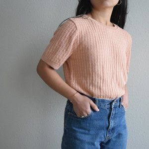 Alfred Dunner shortsleeve knit top rose gold Small
